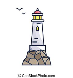 Tall Beacon with Light on Rock and Small Birds - Tall beacon...