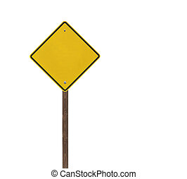 Tall blank isolated caution sign on a wooden post.