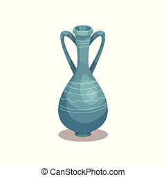 Tall blue amphora with ornament. Old ceramic jug with two handles and narrow neck. Flat vector icon of pottery pitcher for wine