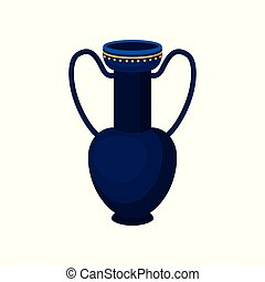 Tall blue jug with two handles. Antique vase. Container for liquids. Flat vector for advertising poster or flyer of antiques shop