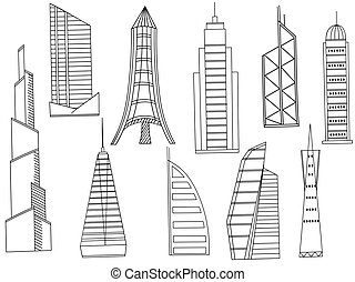Tall buildings coloring book vector - Vector line art Doodle...