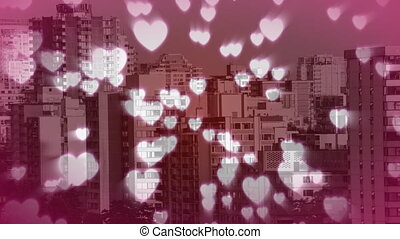 Tall buildings filled with hearts