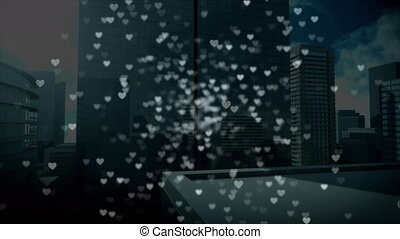 Tall buildings with digital hearts