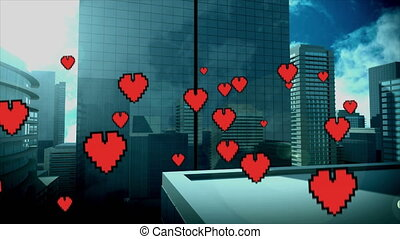 Tall buildings with flying hearts