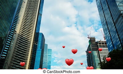 Digital composite of tall buildings with hearts flying upwards