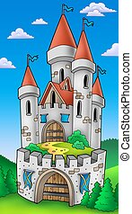 Tall castle with fortification - color illustration.