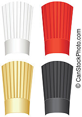 Tall chef's hat in white, red, gold and black isolated on a...
