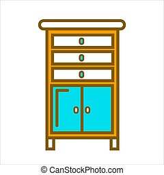 Tall commode with chest of drawers and small cabinets