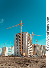 Tall cranes and modern buildings under construction