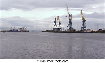 Tall cranes on a pier - A wide scenic shot of a pier where...