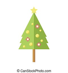 Tall Decorated Cartoon Christmas Pine Tree