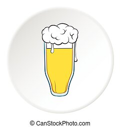Tall glass of beer icon, cartoon style