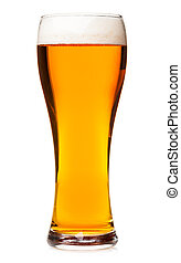 Tall glass of pilsner beer with head isolated - Full pilsner...