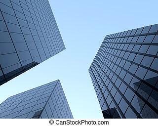 Tall glass skyscraper - Three tall glass skyscrapers on the...