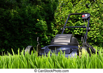 Black lawnmower ready to cut tall overgrown yard grass (focus is on mower)