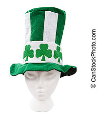 Tall green and white striped St. Patricks Day hat with clipping path