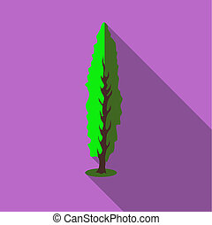 Tall green tree icon, flat style