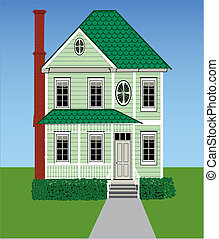 A tall green Victorian home with grass, sky, gingerbread woodwork and a brick chimney.