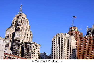 Tall historic buildings in Detroit