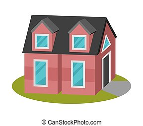 Tall house with a roof attic. Vector illustration.