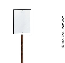 Tall Isolated Blank White Sign on Wood Post