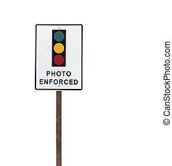 Tall Isolated Photo Enforced Signal Sign on Wood Post