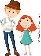 Tall man and short girl illustration