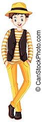 Tall man in yellow pants