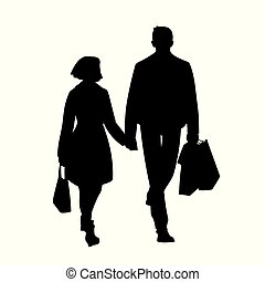 Tall man with packages and woman walking with him by the hand. Black silhouette isolated on white background. Front view. Monochrome vector illustration of couple of young people shopping. Concept.