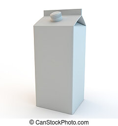 tall milk carton 3d render isolated on white background -...