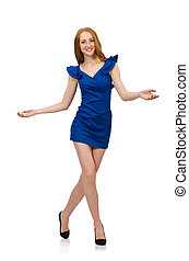 Tall model in blue dress isolated on white