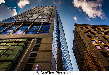 Tall, modern buildings in Boston, Massachusetts.