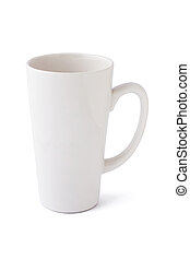 Tall blank mug isolated on white background