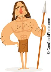 Tall Muscly Warrior With A Spear Wearing Loincloth Cartoon...