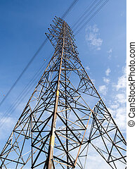 Tall of High voltage pole on blue sky background.