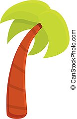 Tall palm tree icon, cartoon style