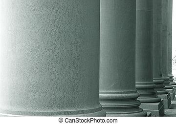 Big pillars in a row in grey tone