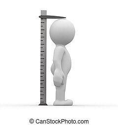 Tall ruler - 3d human measuring her height with ruler