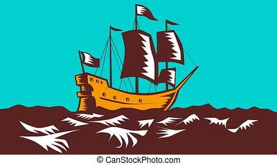 Tall Sailing Ship Retro Woodcut - 2d animation of a tall...