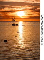 Tall sailing ship silhouette - Old tall sail ship silhouette...