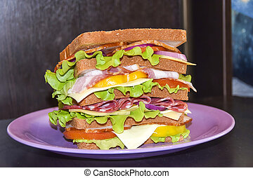 Tall sandwich with beef cheese pork tomato black background