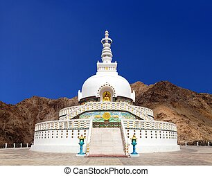 Tall Shanti Stupa near Leh, Ladakh, Jammu and Kashmir