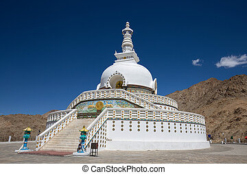 Tall Shanti Stupa near Leh, Ladakh, Jammu and Kashmir, India