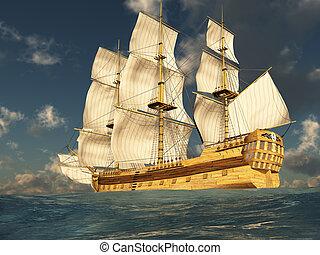 Tall Ship at Sea 2 - 3D render depicting a tall ship at sea ...
