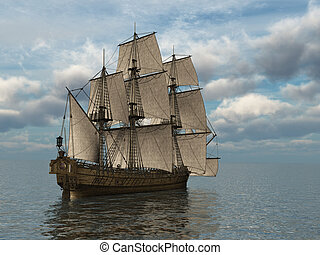 Tall Ship at Sea - Tall ship at sea - 3d render.