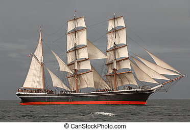 Tall Ship at Sea - Vintage windjammer tall ship with full...