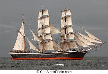 Tall Ship at Sea - Vintage windjammer tall ship with full...