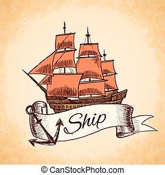 Tall ship emblem - Sailing tall ship wooden vintage clipper...