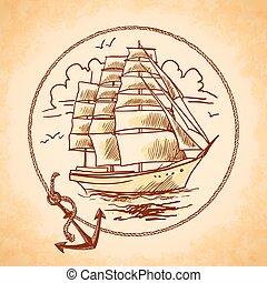 Tall ship emblem - Sailing tall ship old wooden metal vessel...