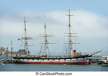 Tall Ship in the San Francisco Bay, California, USA. Tall ...